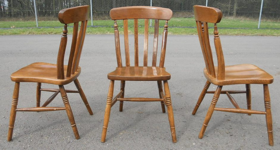 Ordinary Windsor Kitchen Chairs #10: ... SOLD - Set Of Three Beech Windsor Lathback Kitchen Chairs ...